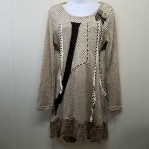 Simply Couture M Beige Sweater Dress Tunic Wool Bl